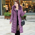 Plus SizeM-5XL Women White Duck Down Coat New Fashion Winter Style Dress Warm Coats High Qulity Real Fur Woman Long Jacket coats