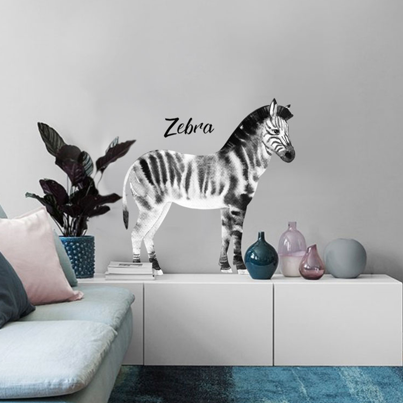 Zebra wall stickers Animal horse Black and white modern Nordic home decoration accessories wall stickers for kids rooms diy art