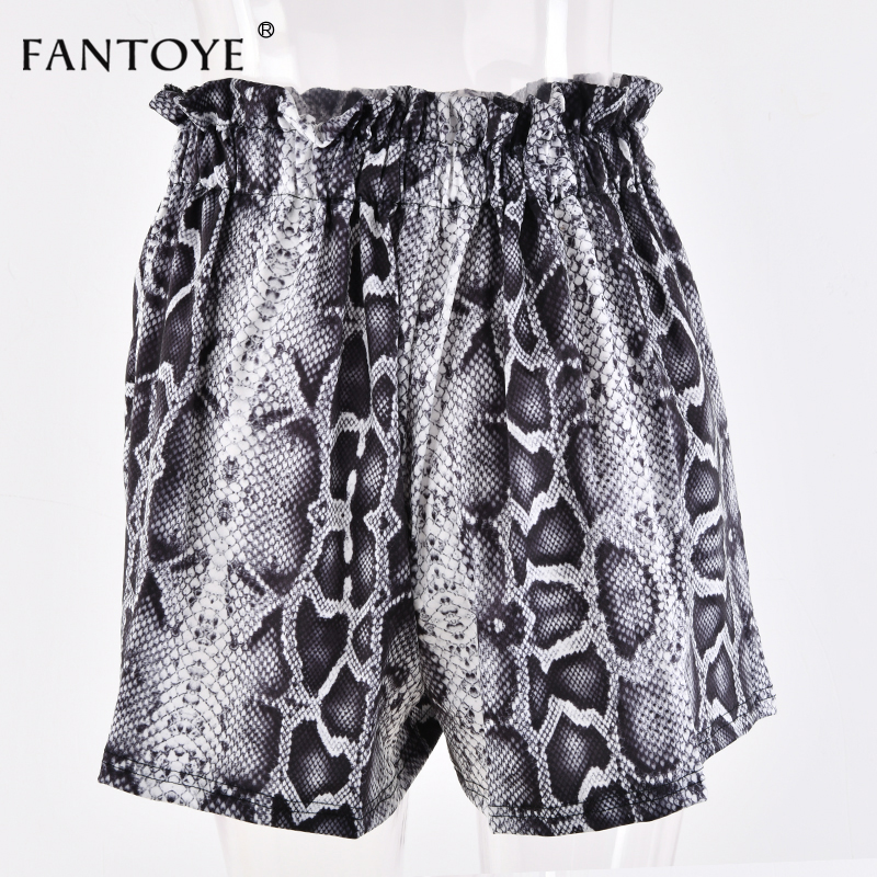 Snake Print High Waist Shorts Women Autumn Paper Bag Sexy Elegant Fashion Lace Up Ruffle Mini Ladies Shorts Skirts 40