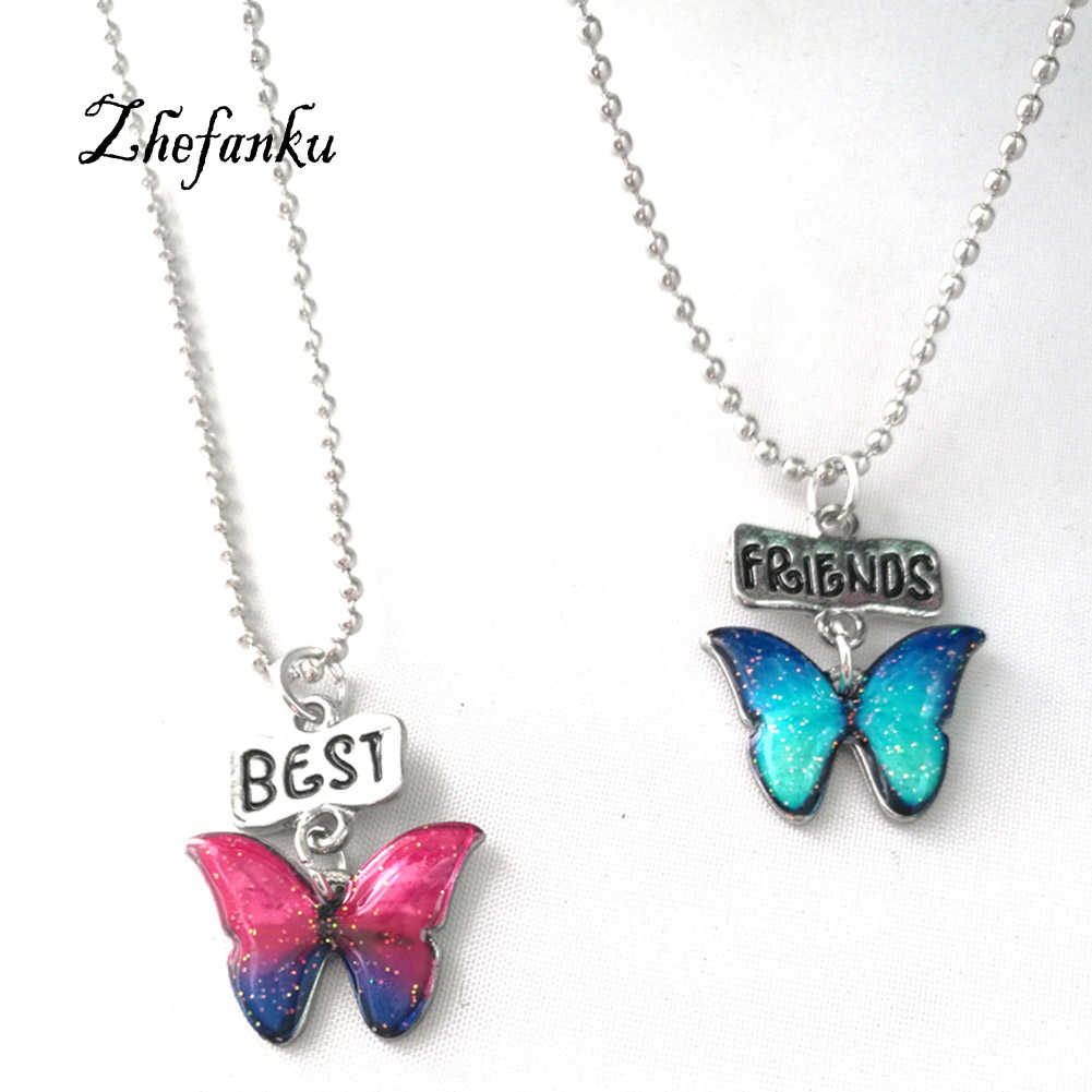 2014 2pcs Best Friends  Butterfly Pendant Necklaces Friendship  Jewelry Christmas Gift  New Fashion Drop Oil Necklace