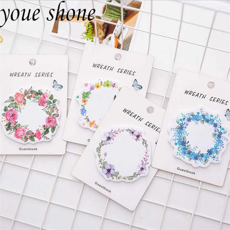 1PCS stationary Romantic Beautiful Garland Self-Adhesive Memo Pad Sticky Notes  Bookmark Stationery School Office Supply