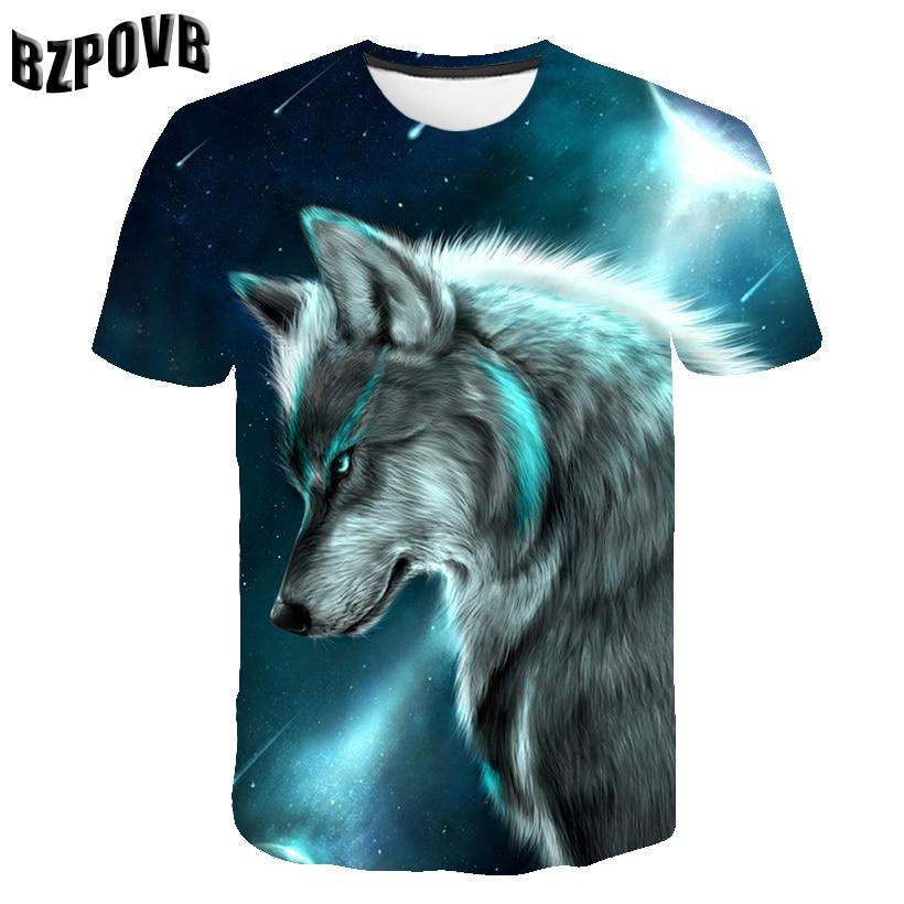 2019 новые волк 3D с животным принтом классная забавная Мужская футболка с коротким рукавом, летние топы, футболка, мужские стильные повседнев...