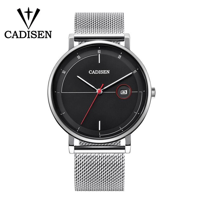 CADISEN Top Luxury Luxury Brand Business Casual Men's Watch Ultra-thin Mesh Stainless Steel With Date Display Waterproof Watch