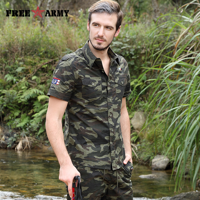 Gratis Army Brand Hot Herre Shirts Fashion 2017 Summer Short Sleeves - Herretøj - Foto 5