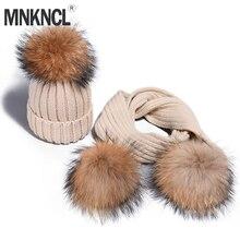 MNKNCL Girl Pom Pom Beanie Warm Knitted Bobble Fur Pompom Hat and Scarf Set Child Real Raccoon Fur Pompon Winter Hat Skullies