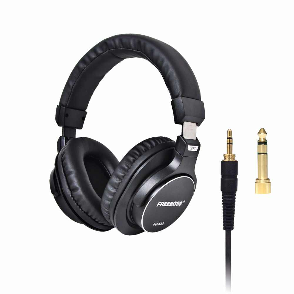 Freeboss FB-888 Over-ear cerrado 45mm controladores de un solo lado cable desmontable 3,5mm enchufe 6,35mm adaptador Monitor Auriculares auriculares