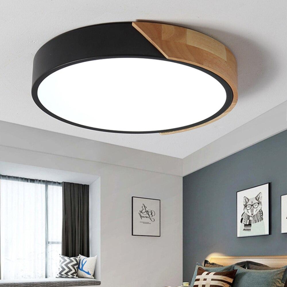 Dbf Nordic Wielokolorowe Oświetlenie Led Lampa Sufitowa Salon ściemniania Lampy Sufitowe Led Sypialnia Drewna Doprowadziły Oprawy Oświetlenia