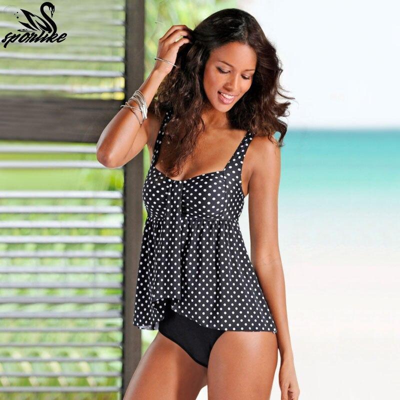 2019 החדש דוט הדפסת Tankini סט לשחות בתוספת גודל בגדי ים נשים בגד ים בציר חוף ללבוש בגדי ים נשי תחבושת Monokini