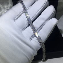 2018 Handmade silver color bracelet 5A cubic zirconia Sona White Gold Filled Engagement bracelets for women wedding accessaries(China)