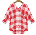 Casual Bat Sleeved V Neck Big Plaid Women Blouses All-match Thin Loose Mid Sleeve Female Cotton Shirts Longer In The Rear