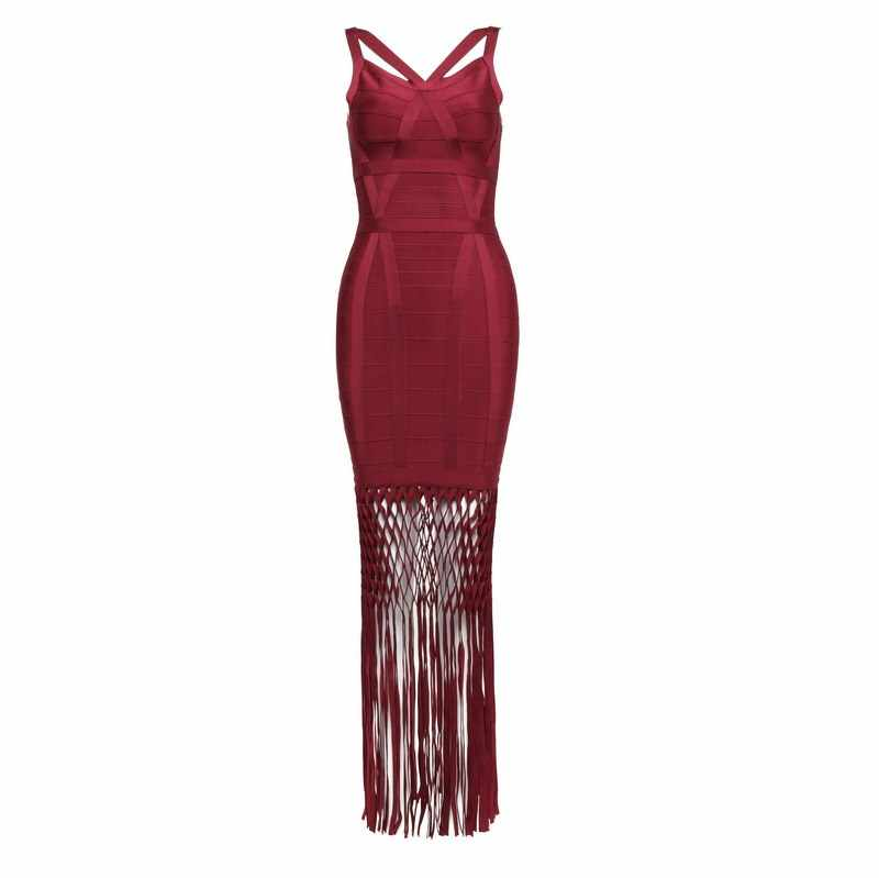 Bandage Dress Factory 2016 New autumn bodycon sexy women dress tassel hollow out backlessblack burgundy   party bandage dress