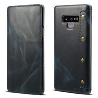 First layer cowhide Genuine Leather Flip case For samsung galaxy note 9 Vintage oil wax stitching Business high end