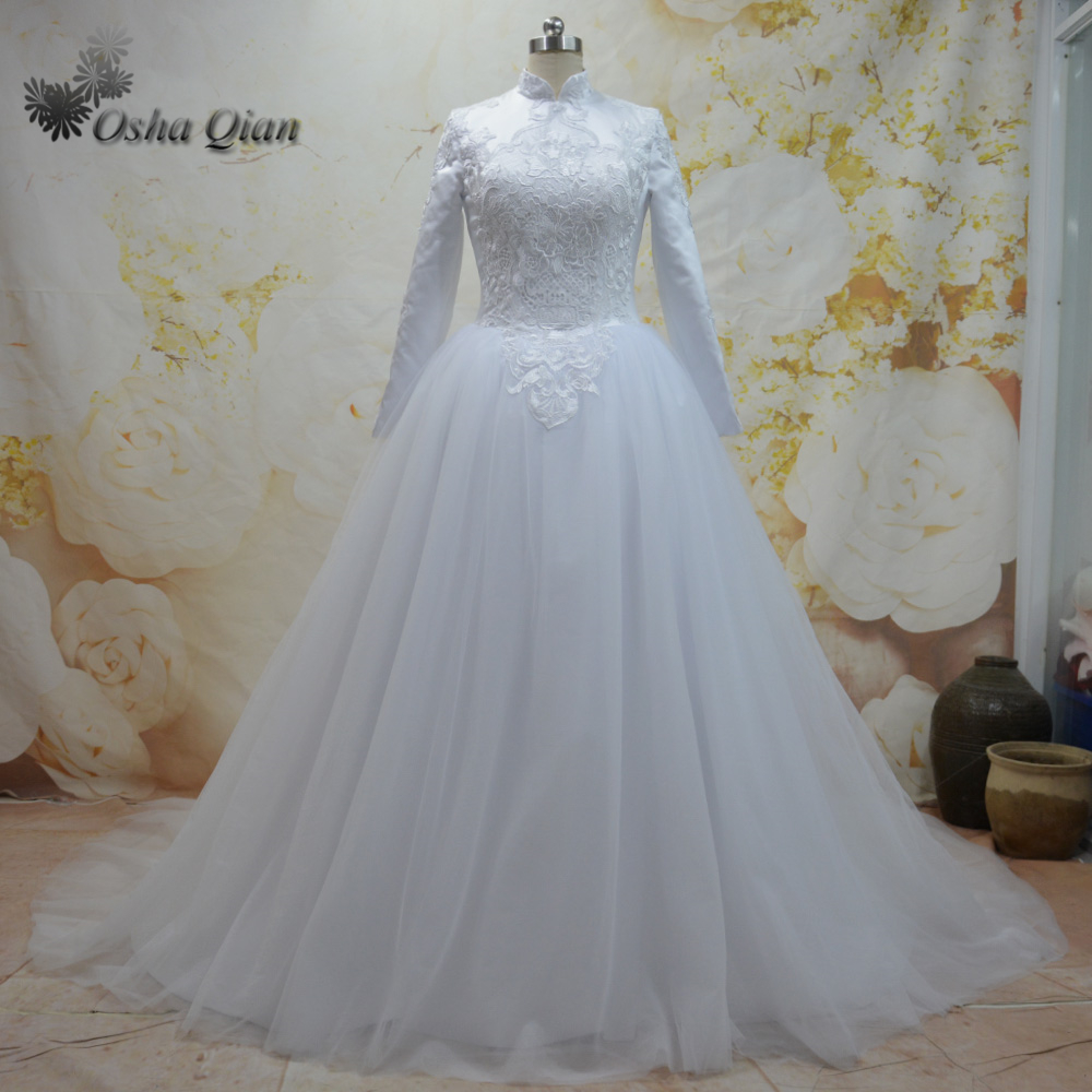 Online shop white high neck muslim wedding dress long sleeve online shop white high neck muslim wedding dress long sleeve arabic bridal dresses lace tulle zipper robe de mariage ball gown puffy aliexpress mobile ombrellifo Image collections