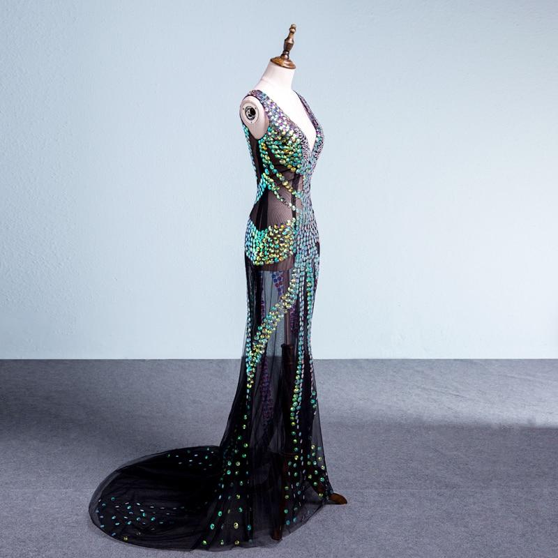 Sparkly Multicolor Rhinestones Sleeveless Mesh Long Dress Women's Birthday Celebrate Nightclub Female Singer Show Clothes Dress