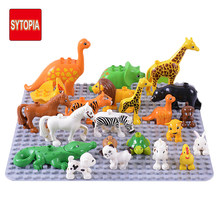 Big Size Animals Cat Dog Dinosaur Blocks Farm Zoo Kids Blocks Accessories Blocks Toy For Girl Boy(China)