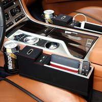 Car Seat Storage Box With Money Pot Phone Holder Organizer Gap Slit Filler With Usb Charger