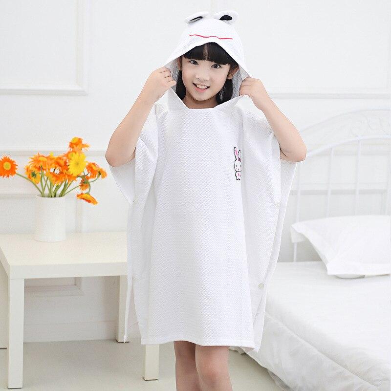 100% Pakistan Cotton White Cartoon Kids Baby Hooded Bath/Beach/Pool Towel hooded towel for kids 80cmx70cm
