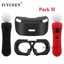 غطاء سيليكون من IVYUEEN لنظارة سوني بلاي ستيشن VR غطاء حماية من السيليكون مع الجلد وجهاز تحكم الحركة PSVR