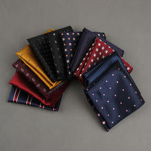 Mantieqingway Striped Dot Mens Handkerchiefs Brand Classic Polyester Pocket Towel Hanky Formal Business Suits Chest Towel Gifts