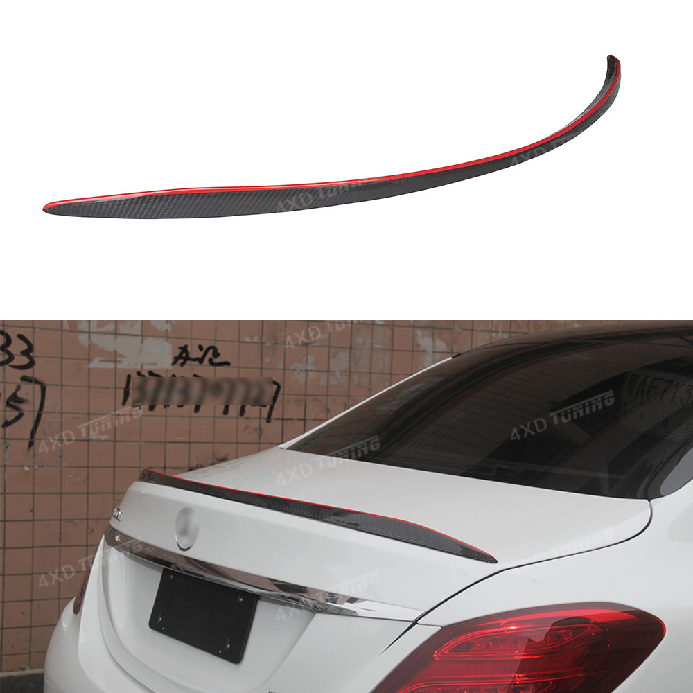 For Mercedes C Class W205 Spoiler C63 Style 4-doors W205 C63 AMG Carbon Fiber Rear Spoiler With Red Line Rear Trunk Wing 2014-ON fit for mercedes benz c w205 c180l c200l c63 amg carbon fiber rear spoiler rear wing