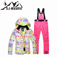 2018 New Woman Ski Jacket and Pants Ski Suit Sets Female Snowboarding Clothing Outdoor Sports