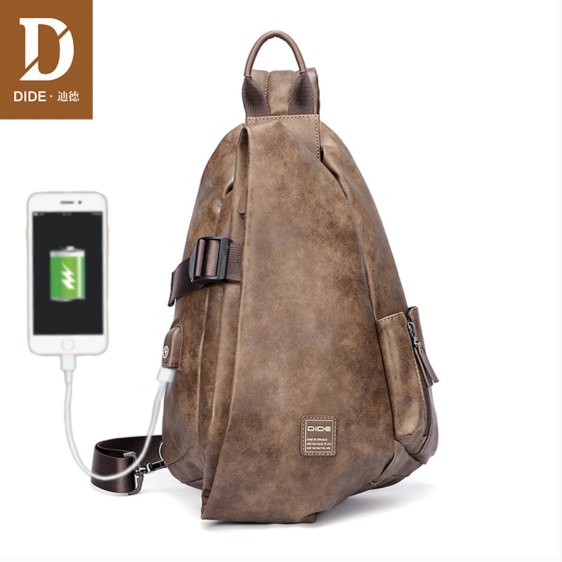 DIDE New Large Capacity USB Back Chest Bag Men Waterproof PU Leather Messenger Shoulder Bags For
