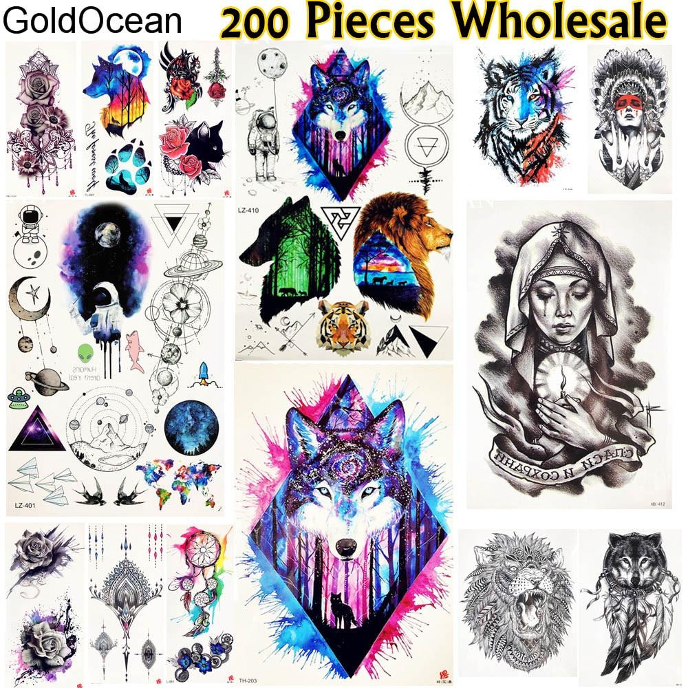 GoldOcean 200 Pieces Wholesale Temporary Tattoo Stickers Arm Leg Fox Lion Tatoo Men Women Body Art