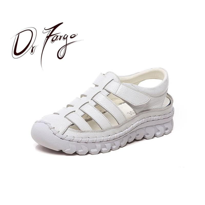 Drfargo Frauen Sandalen 2019 Sommer Schuhe Aus Echtem Leder Bedeckt Kappe Weiche Casual Walking Zapatos Mujer Plataforma Große Größe 41 43