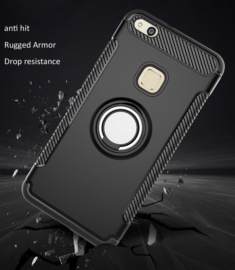 Ring Holder Case For Huawei P10 Lite Finger Grip Magnetic Suction Cover absorb On Car Holder Bracket Nova Lite