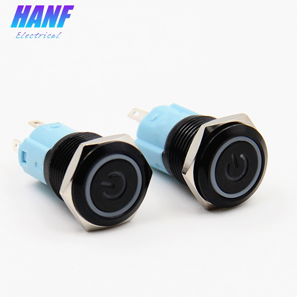 1pcs 3A/250V 16mm Flat Head Momentary Black Metal Push Button Switch 1NO1NC LED Light Red Blue Green Yellow White Power Switch