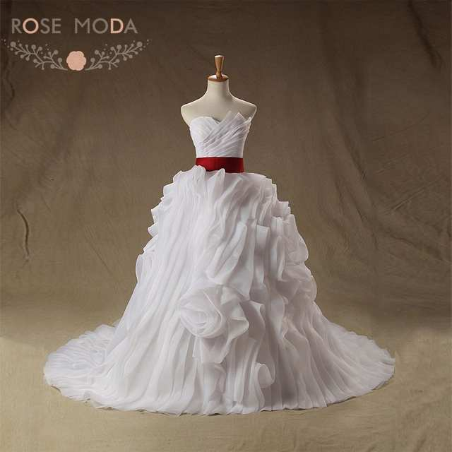 US $298.0 |Rose Moda Ruffled Organza Ball Gown Juliette White and Red  Wedding Dress Plus Size Lace Up Back Vestido De Noiva Real Photos-in  Wedding ...