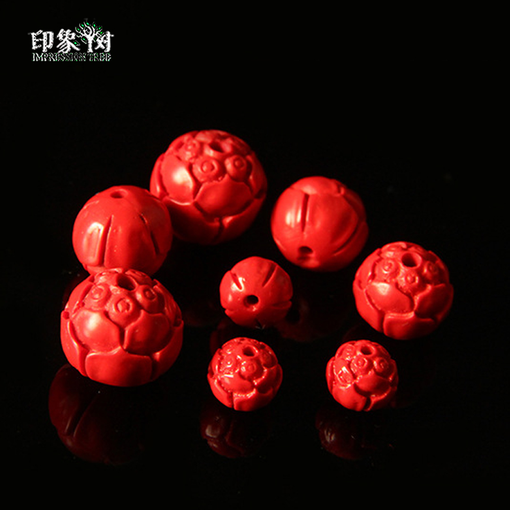 Charitable 10pcs/lot 8/10/12/14mm Handmade Lotus Carving Cinnabar Beads For Diy Bracelet Necklace Jewelry Making 612 To Prevent And Cure Diseases Beads