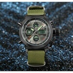 Image 2 - AMST צבאי שעונים צלילה 50 M ניילון & עור רצועת LED שעונים גברים למעלה מותג יוקרה קוורץ שעונים reloj hombre relogio Masculino