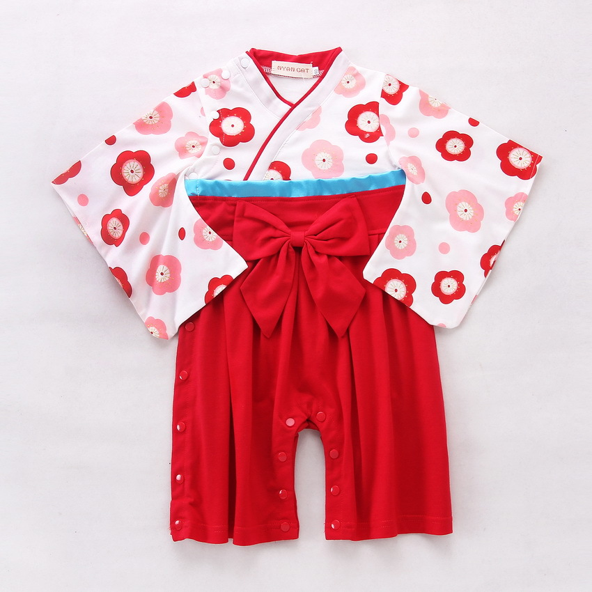 6079f6fa4 Buy Baby Romper Girls Floral Print Japanese Kimono Boys 2 PCS Cotton ...