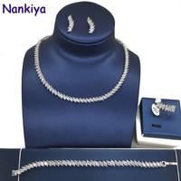 Nankiya Classic 4pcs Jewelry Set Sparkling Eye Cubic Zirconia Tennis Declining Wedding Bridal Jewellery Set For Women NC039
