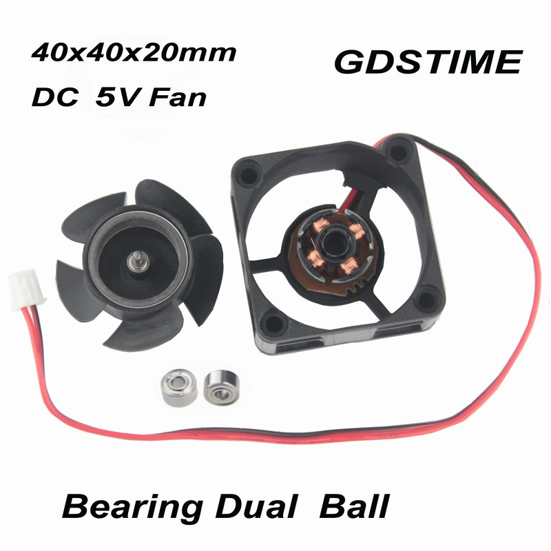 2 pcs Gdstime 4cm Ball Bearing 40x40x20mm Small Radiator 40mm x <font><b>20mm</b></font> Smart DC <font><b>5V</b></font> Brushless Cooling Cooler <font><b>Fan</b></font> 40mmx40mm 4020 image