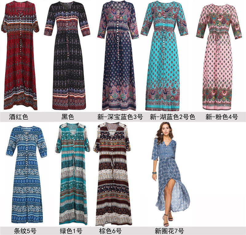 Women's V Neck Floral Print Boho Long Dress Sleeve Party Dresses M-3XL