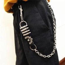 купить Metal Long Rock Punk Wallet Belt Chain Trousers Hipster Pant Jean Keychain Silver Ring Clip Keyring Men's HipHop Jewelry KL10 дешево