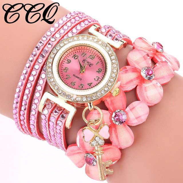 CCQ Fashion Women Rhinestone Bracelet Watch Luxury Leather Flower Crystal Clock