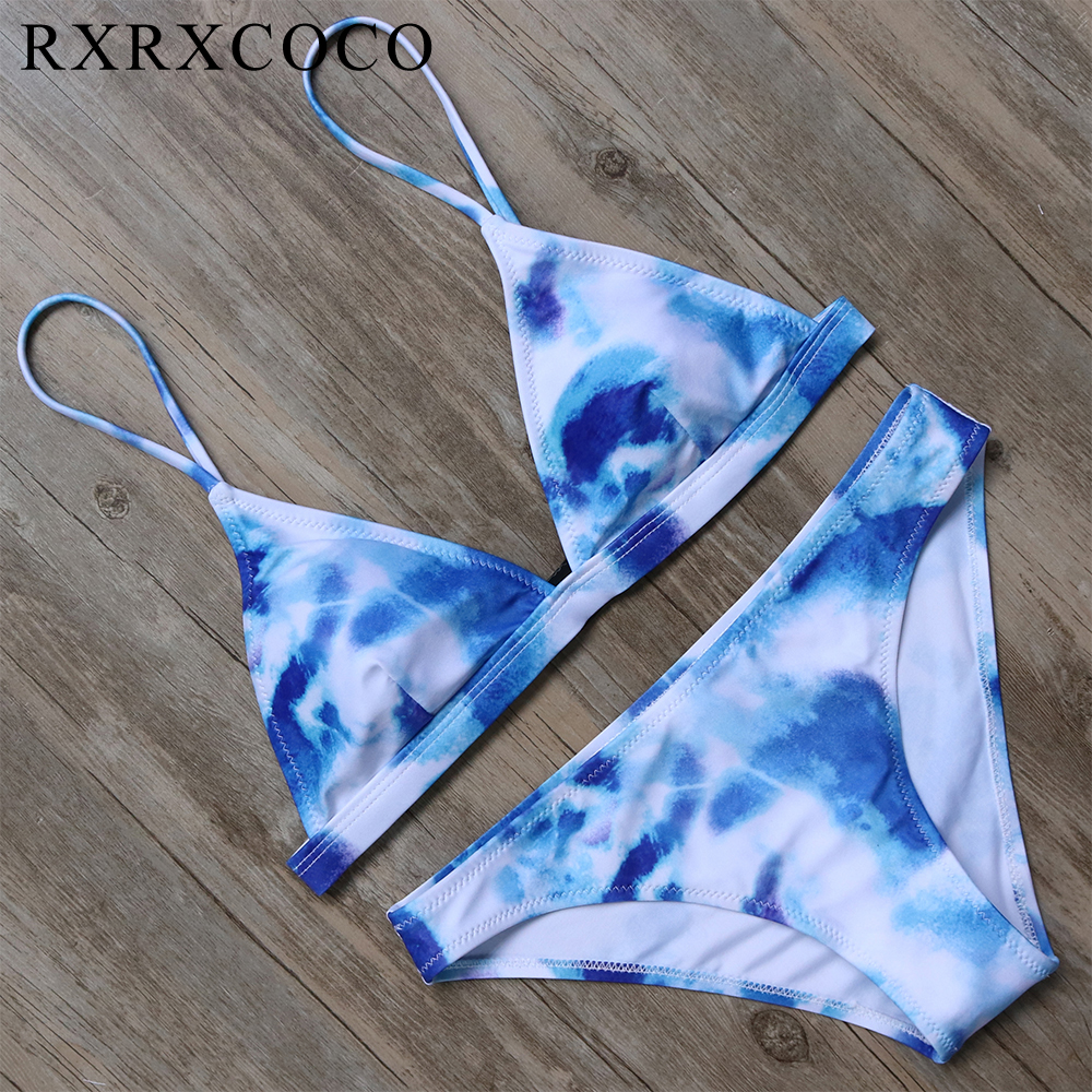 RXRXCOCO Brand 2018 Hot Sexy Bikinis Women Set Leaf Printed Swimwear Push Up Bathing Suits Bikini Top Bandage Swimsuit Beachwear rxrxcoco hot swimwear women sexy lace