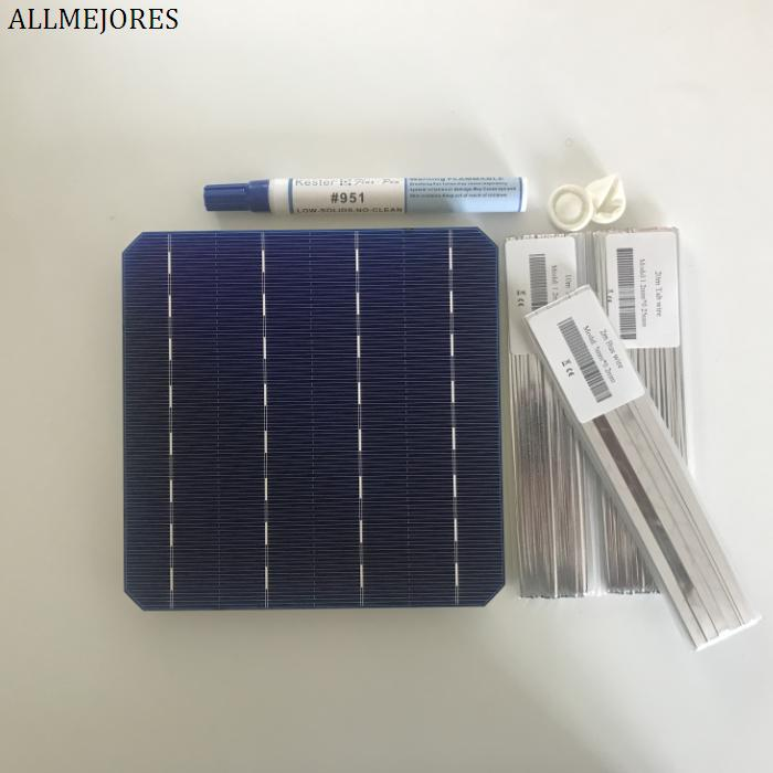 High Quality 25pcs monocrystalline soalr cell 156mmx156mm 30meters tabbing wire 2m busbar wire flux pen for