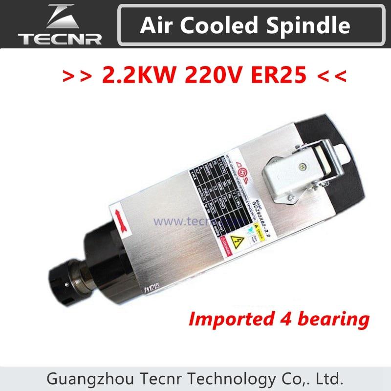 TECNR alta calidad 2.2kw 220v motor de husillo refrigerado por aire 220V 380V 4 piezas Rodamientos de cerámica ER25 collarín GDZ93 * 82-2.2