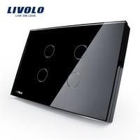 Livolo US Standard Wall Switch Black Crystal Glass Panel AC 110 250V Touch Sensor Light Switch
