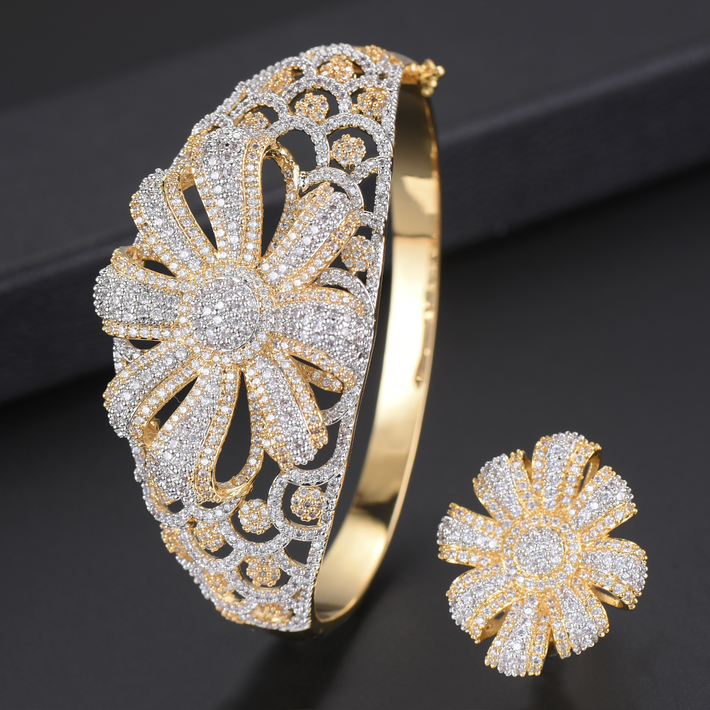 Luxury CZ Bracelet Resizable Ring Jewelry Sets For Nigerian Women Flower Shape Hollow Sets Full Cubic Zirconia Inlaid Jewelry цены