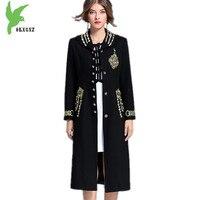 Boutique Women Autumn Winter Windbreaker Woolen Coat Nail Beaded Embroidery Outerwear Long section Woolen cloth Coats OKXGNZ1377