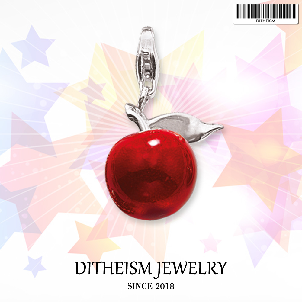 Red Apple Charms Pendant,2018 Fashion Jewelry 925 Sterling Silver Romantic Gift For Women Girls Fit Bracelet Necklace Bag