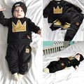 Baby Boy Girls Crown Tops T-shirt+Pants Leggings Outfits Set Tracksuit Sportwear