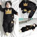 Baby Boy Meninas Crown Tops T-shirt + Calças Leggings Outfits Set Treino Sportwear
