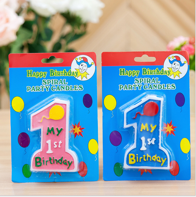 1st Happy Birthday Candles Toothpick Cake Party Decor Colorful Cute Letters