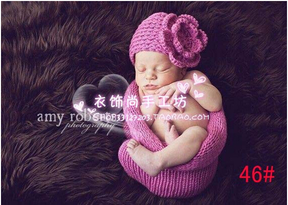 newborn photography props handmade wool crochet knitted sleeping bag infants accessories high quality baby hats pink flower